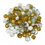 Gold and White Gem & Bauble Mix