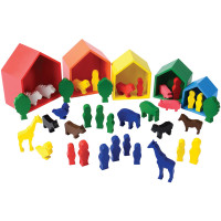 Wooden Nesting Houses and Figures