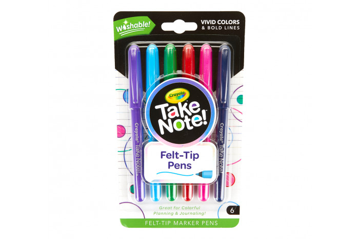 Washable Colored Felt Tip Pens (6 ct)