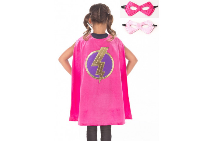 Deluxe Pink Superhero Cape & Mask