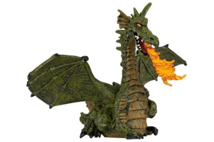 Green Dragon with Flame