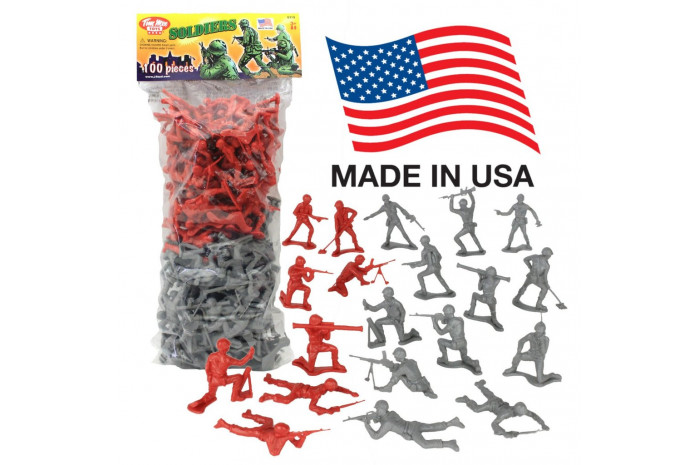 100 Piece Gray & Red Army Men