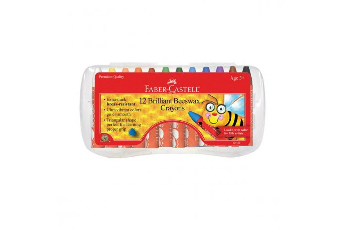 Faber-Castell Beeswax Crayons in Storage Case, 12 Vibrant Colors