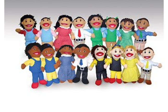 Ethnically Diverse Family Puppet Set (16 Puppets)
