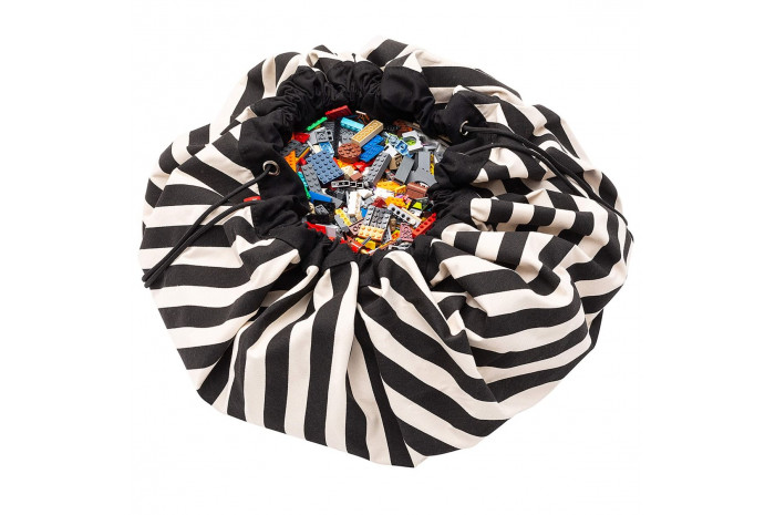 Drawstring Portable Toy Storage Bag - Black Stripes
