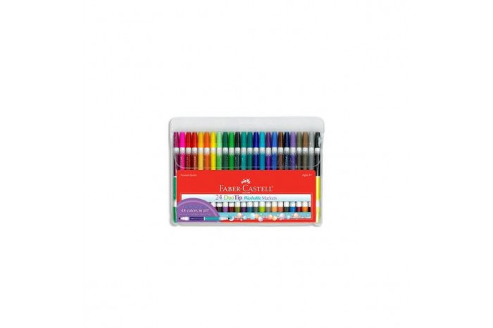 Faber Castell-DuoTip Washable Markers 24 count, 48 colors